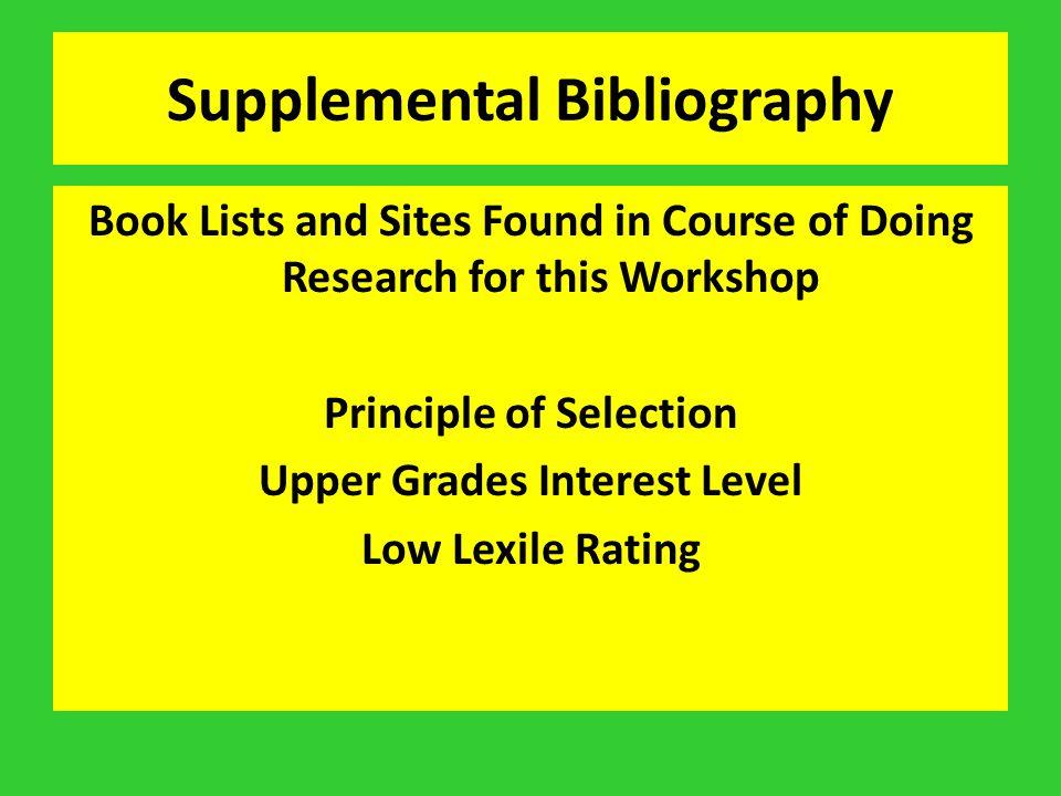 Supplemental Bibliography