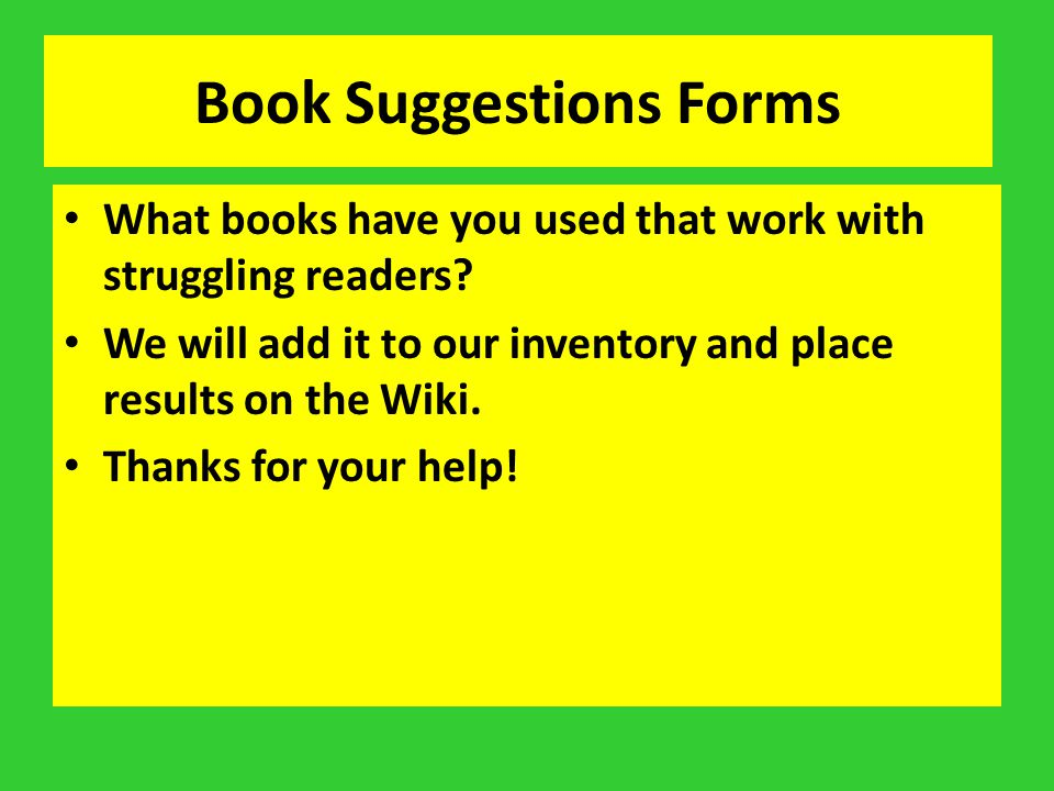 Book Suggestions Forms