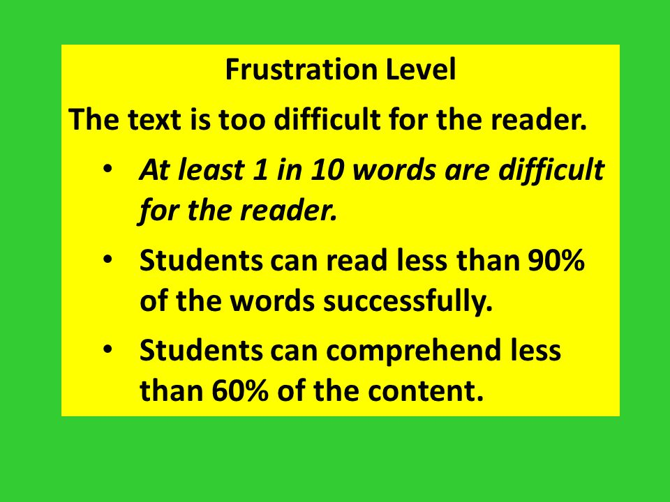 Frustration Level The text is too difficult for the reader. At least 1 in 10 words are difficult for the reader.