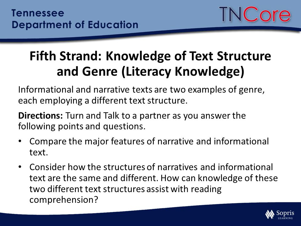 Fifth Strand: Knowledge of Text Structure and Genre (Literacy Knowledge)