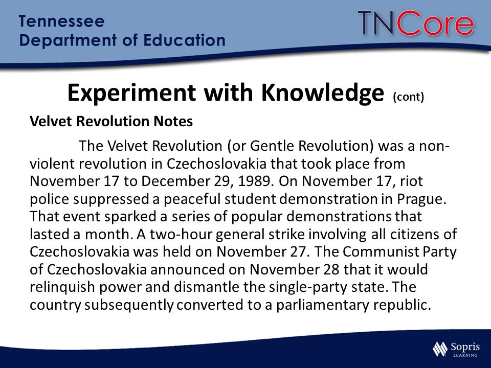 Experiment with Knowledge (cont)