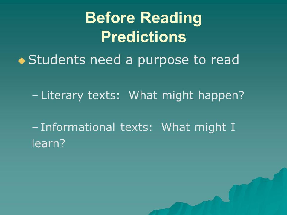 Before Reading Predictions