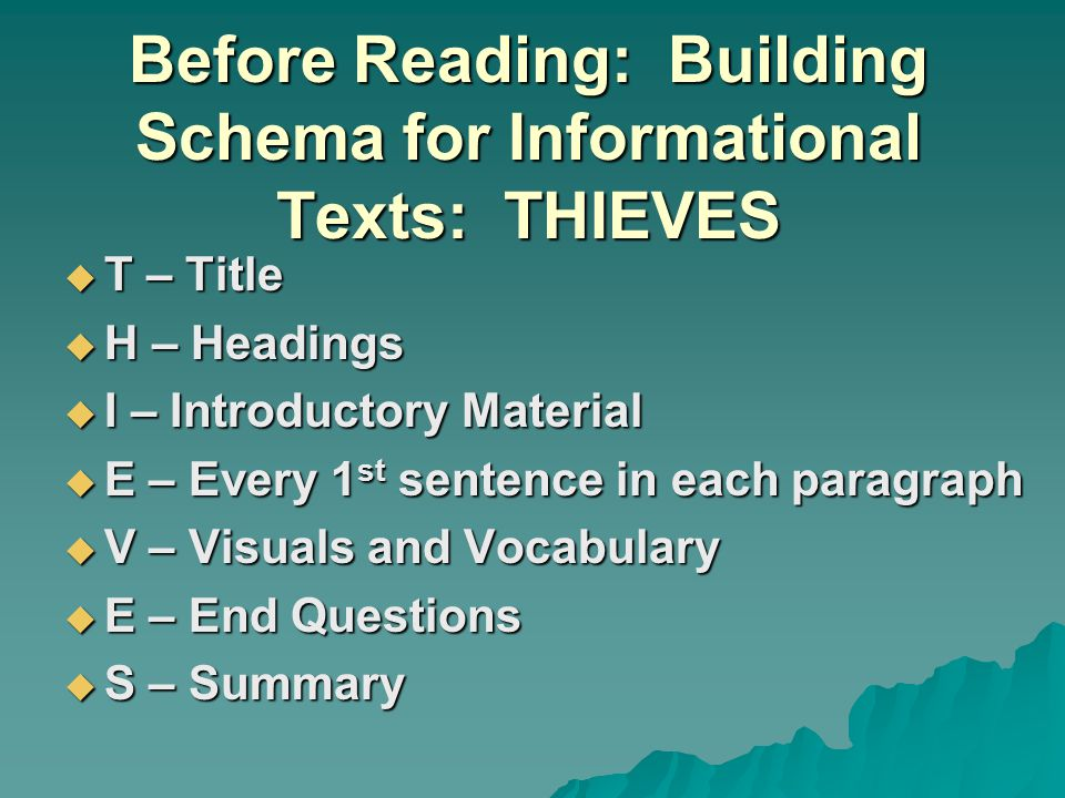 Before Reading: Building Schema for Informational Texts: THIEVES