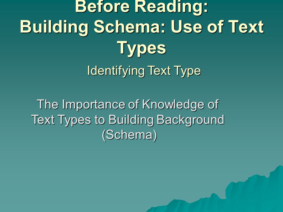 Before Reading: Building Schema: Use of Text Types