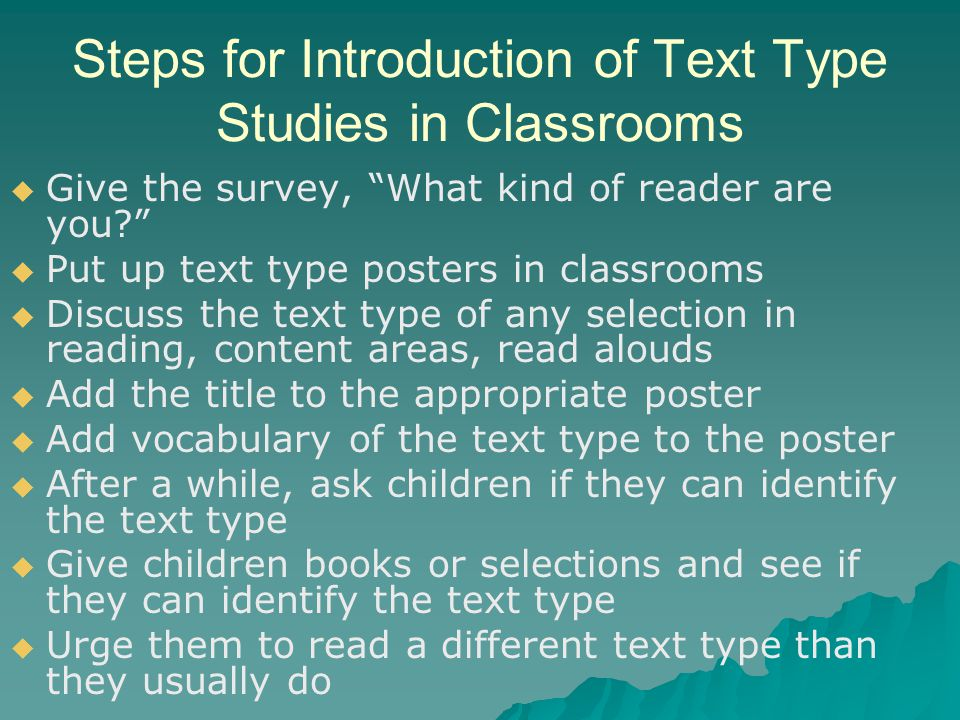 Steps for Introduction of Text Type Studies in Classrooms