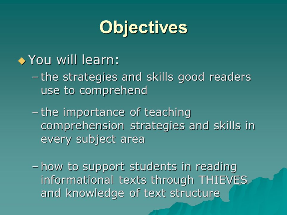 Objectives You will learn: