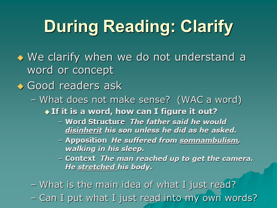 During Reading: Clarify
