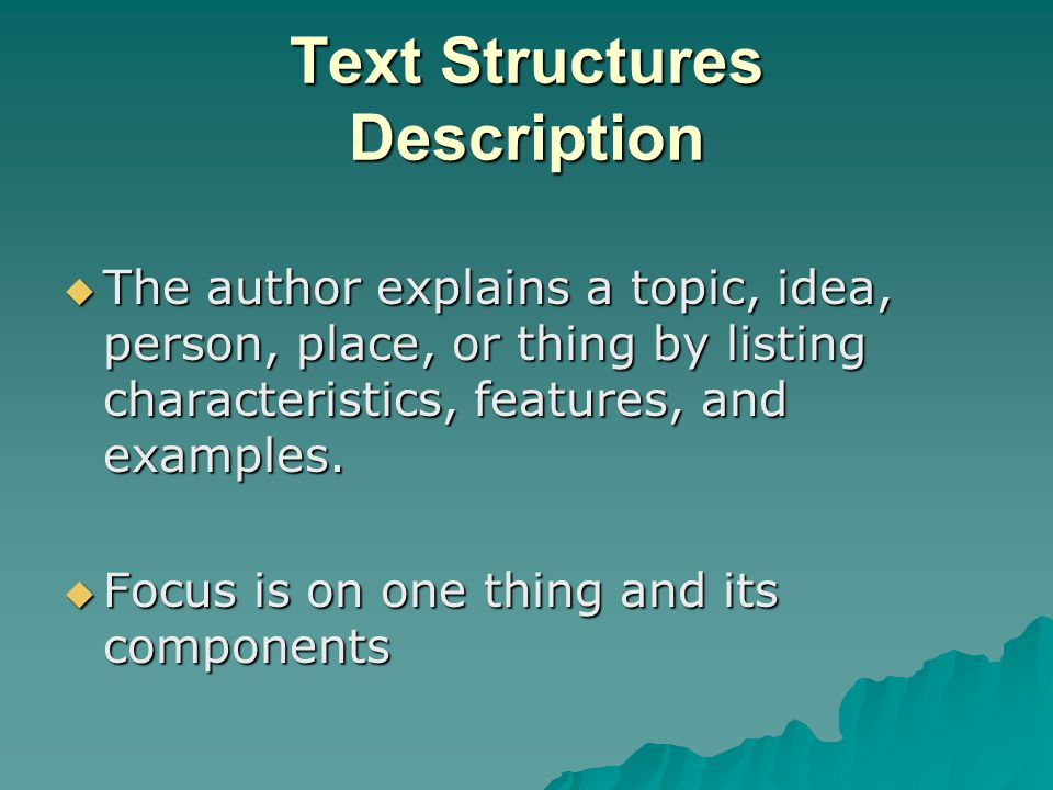 Text Structures Description