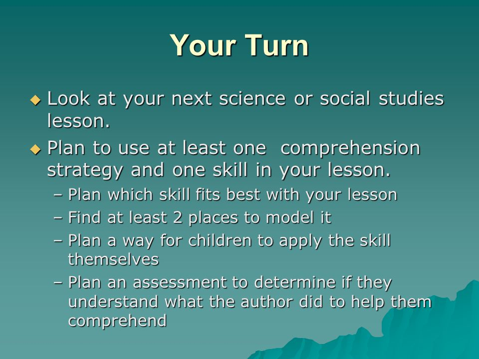 Your Turn Look at your next science or social studies lesson.