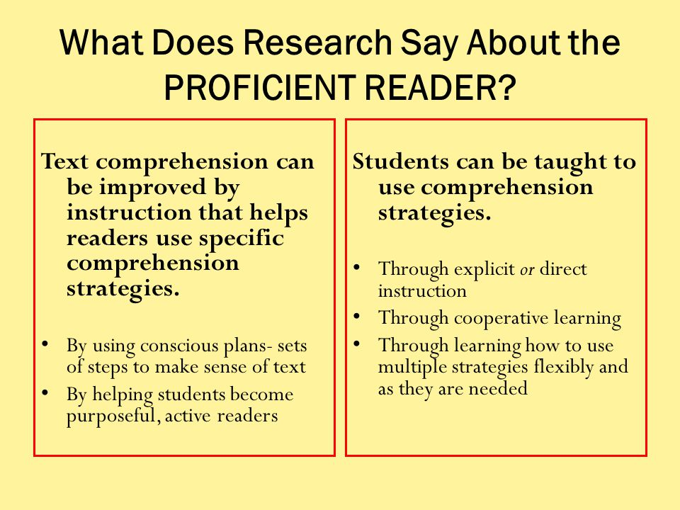 What Does Research Say About the PROFICIENT READER