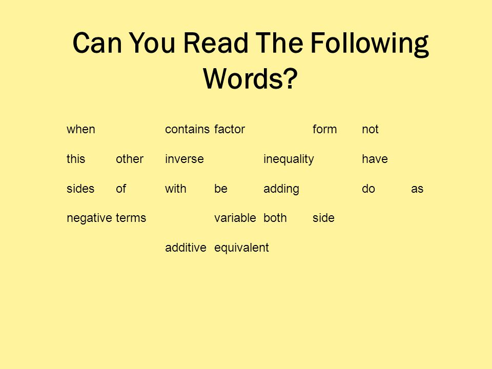 Can You Read The Following Words