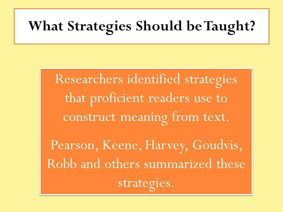 What Strategies Should be Taught