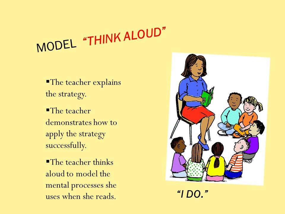 MODEL THINK ALOUD I DO. The teacher explains the strategy.