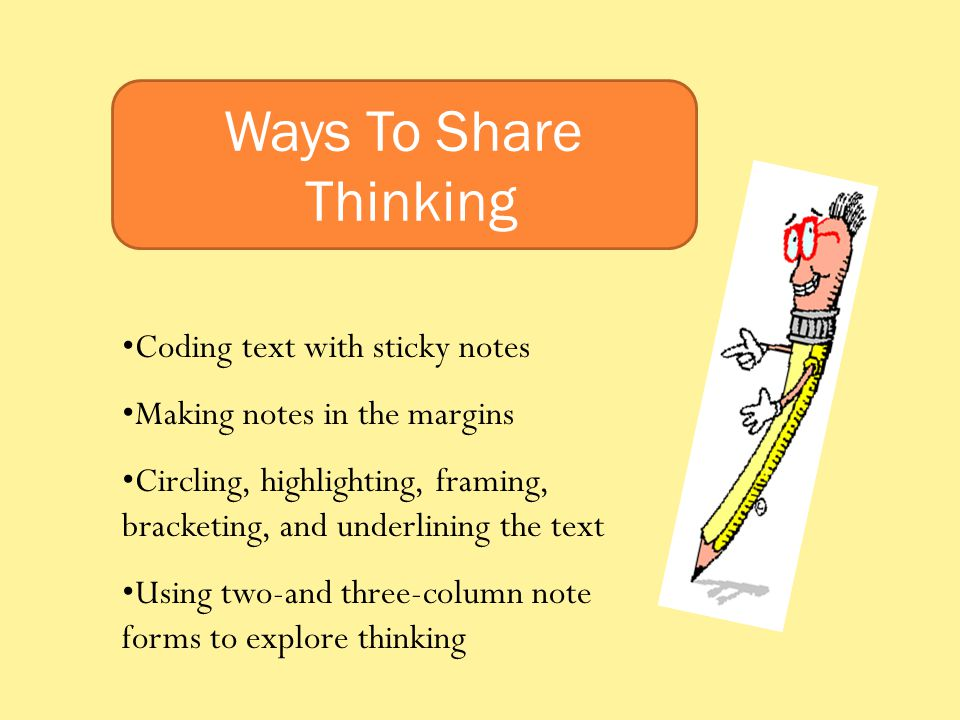 Ways To Share Thinking Coding text with sticky notes