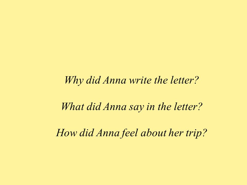 Why did Anna write the letter. What did Anna say in the letter