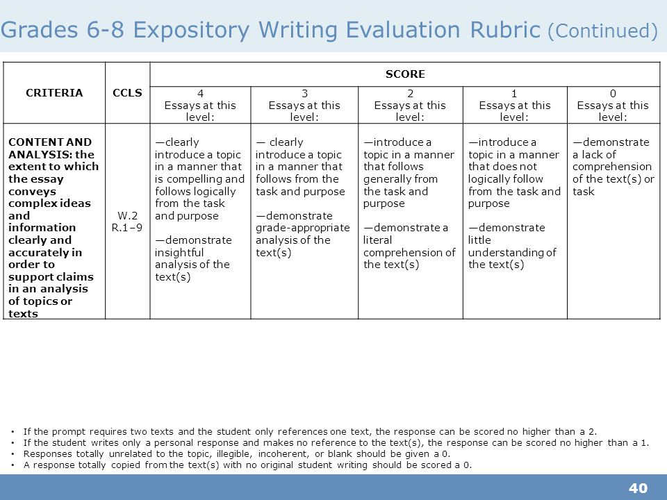 Academic essay evaluation rubric