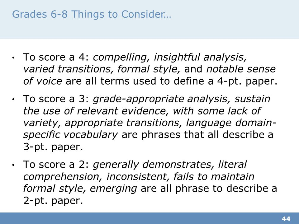 Grades 6-8 Things to Consider…