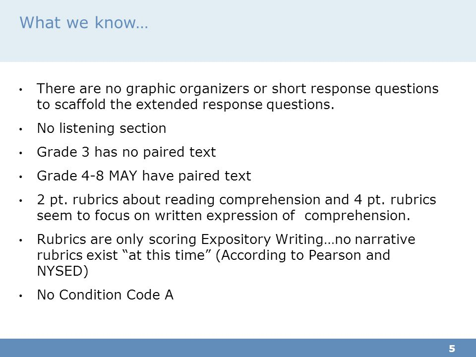 What we know… There are no graphic organizers or short response questions to scaffold the extended response questions.