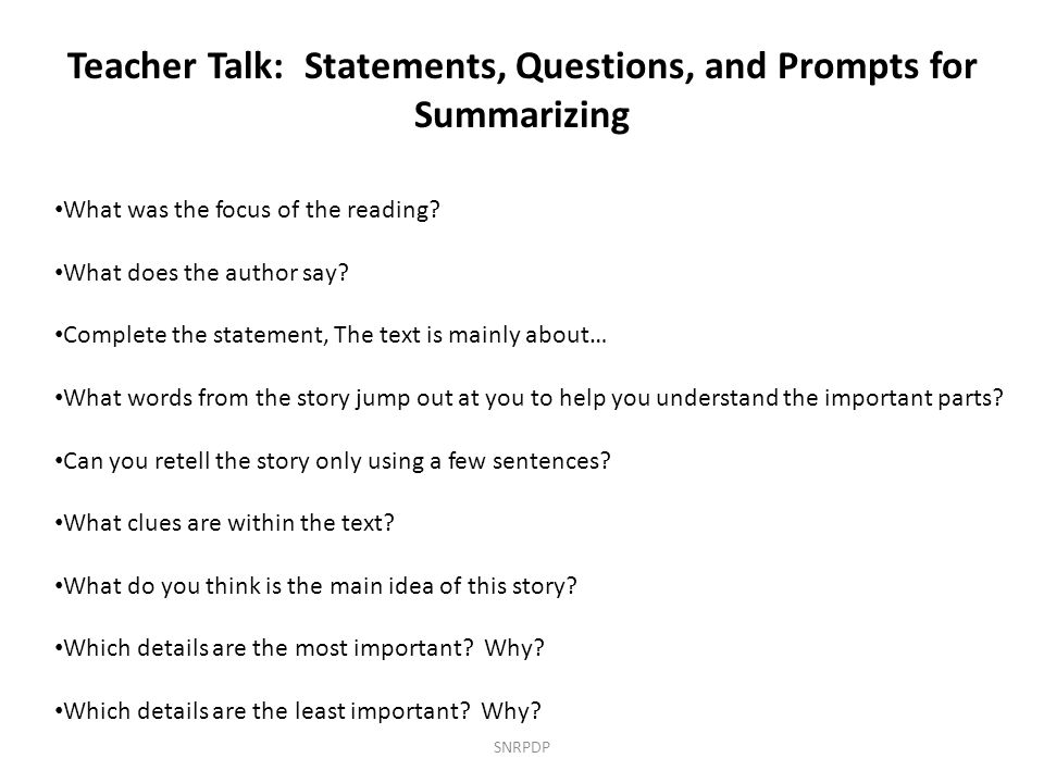 Teacher Talk: Statements, Questions, and Prompts for Summarizing