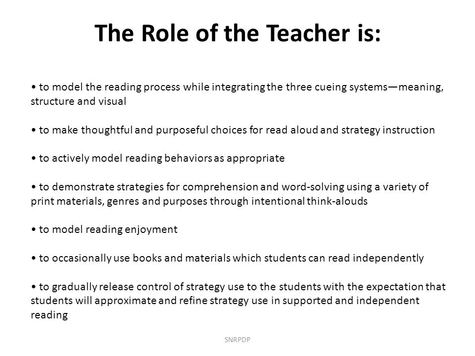 The Role of the Teacher is: