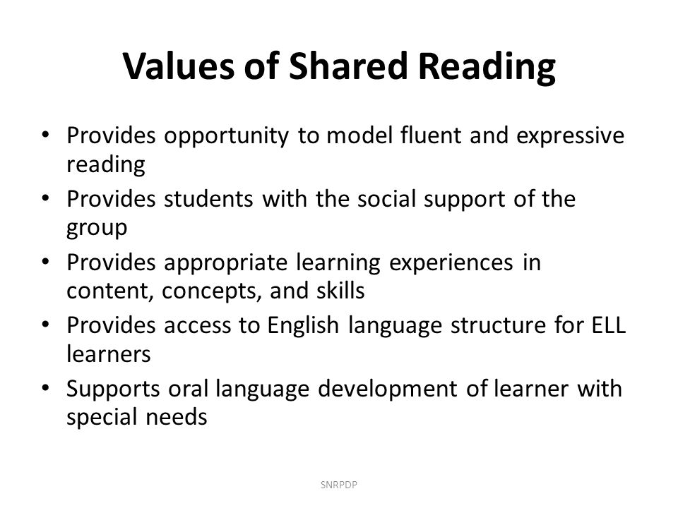 Values of Shared Reading