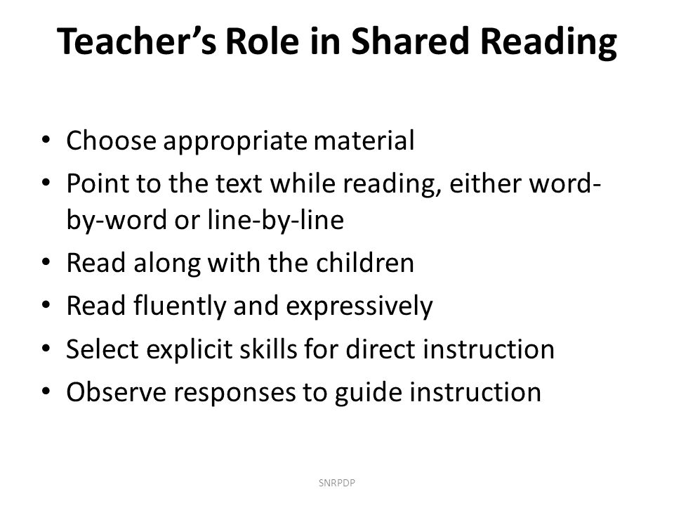 Teacher's Role in Shared Reading
