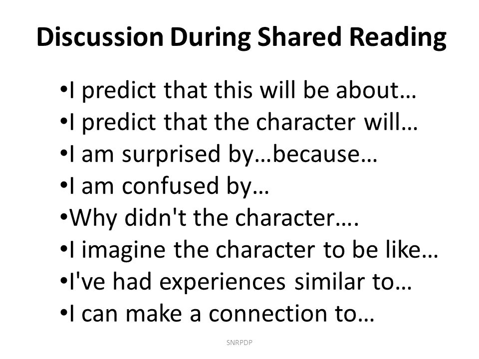 Discussion During Shared Reading