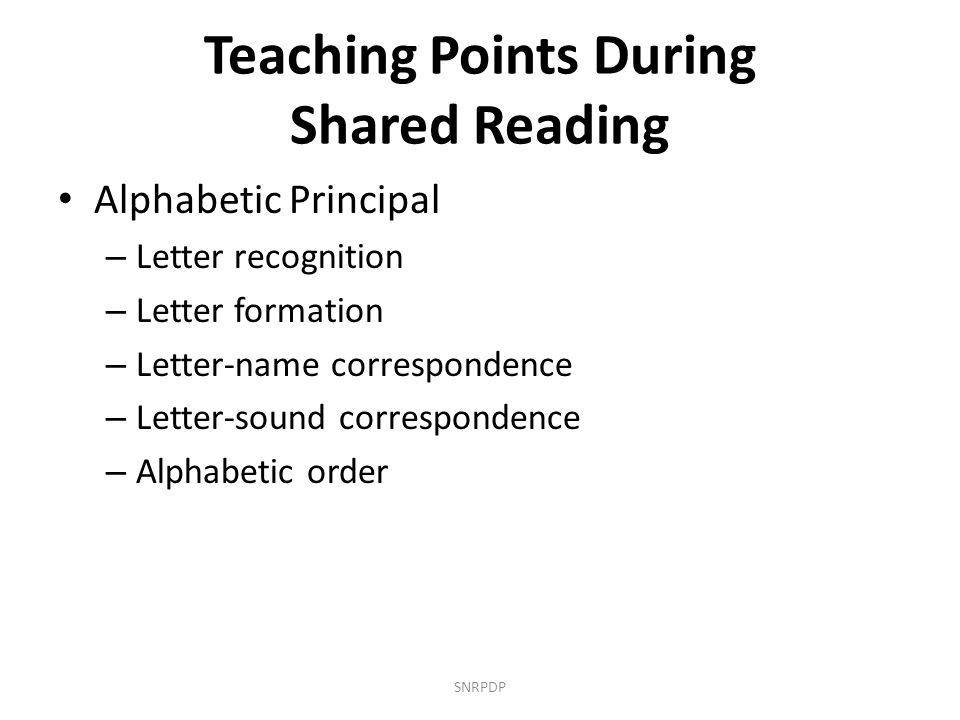 Teaching Points During Shared Reading