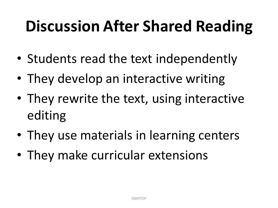 Discussion After Shared Reading
