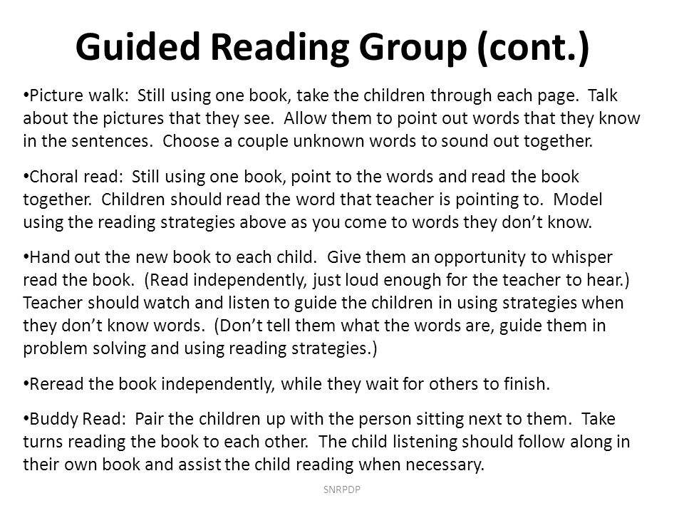 Guided Reading Group (cont.)