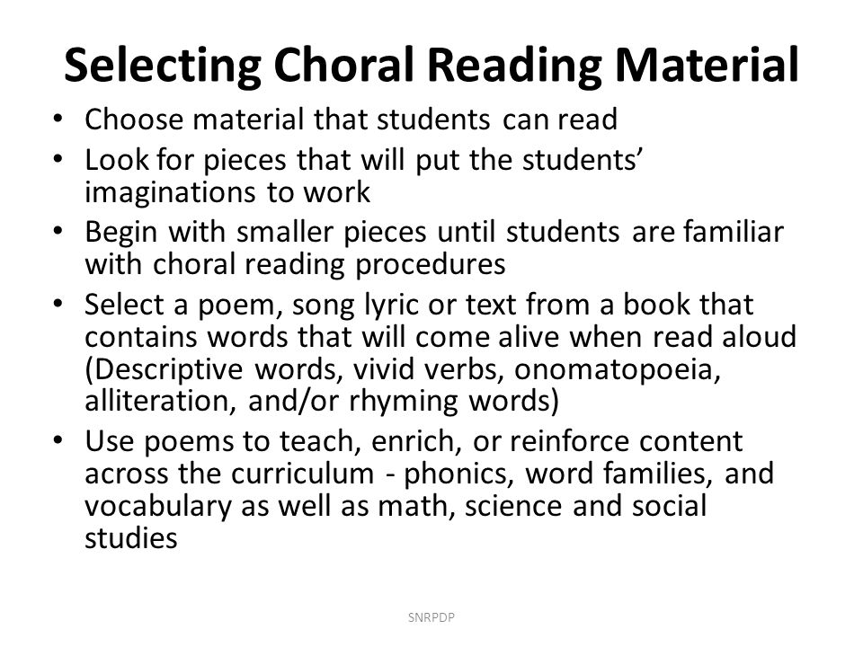 Selecting Choral Reading Material