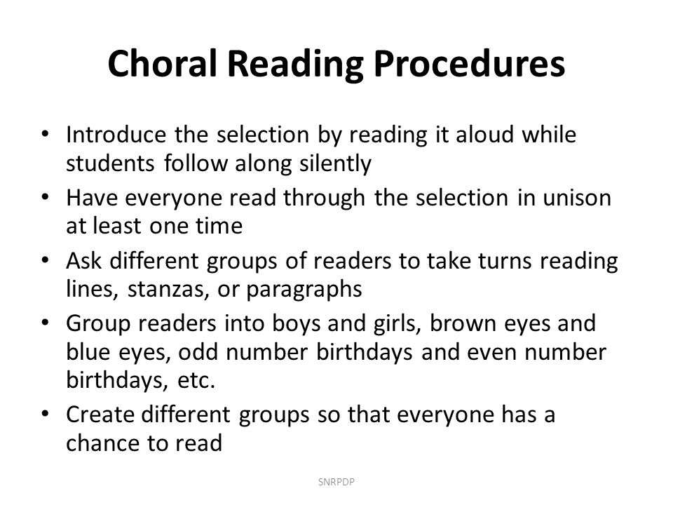 Choral Reading Procedures