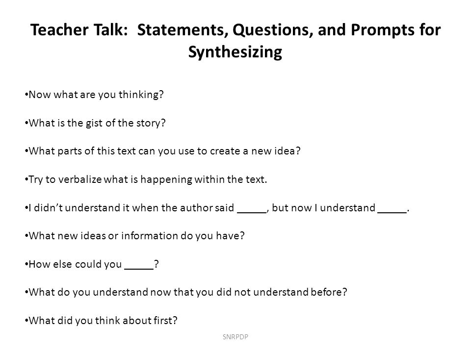 Teacher Talk: Statements, Questions, and Prompts for Synthesizing