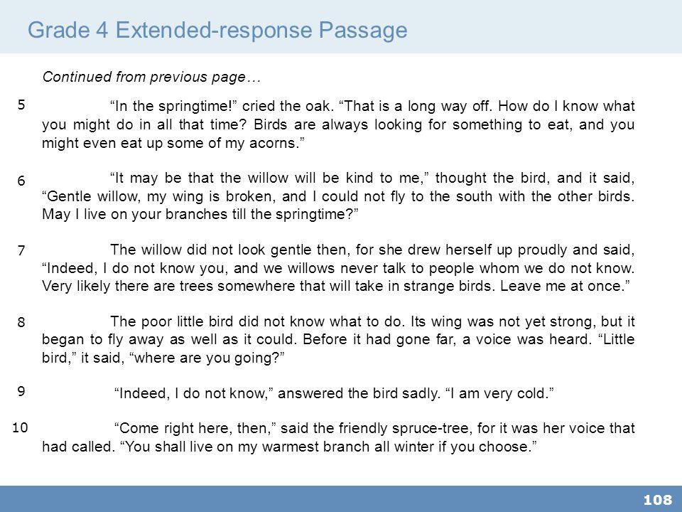 Grade 4 Extended-response Passage