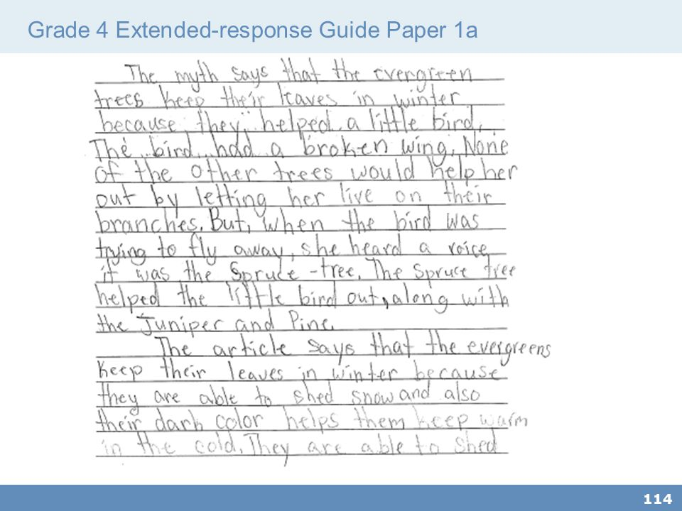 Grade 4 Extended-response Guide Paper 1a
