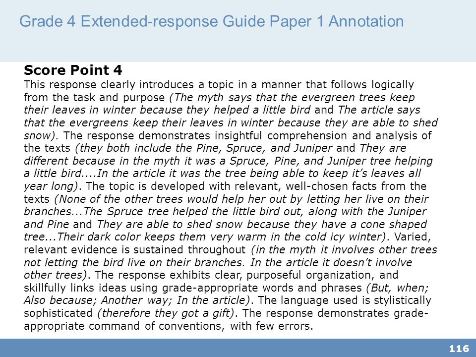 Grade 4 Extended-response Guide Paper 1 Annotation