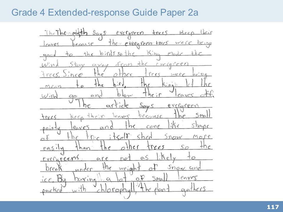 Grade 4 Extended-response Guide Paper 2a