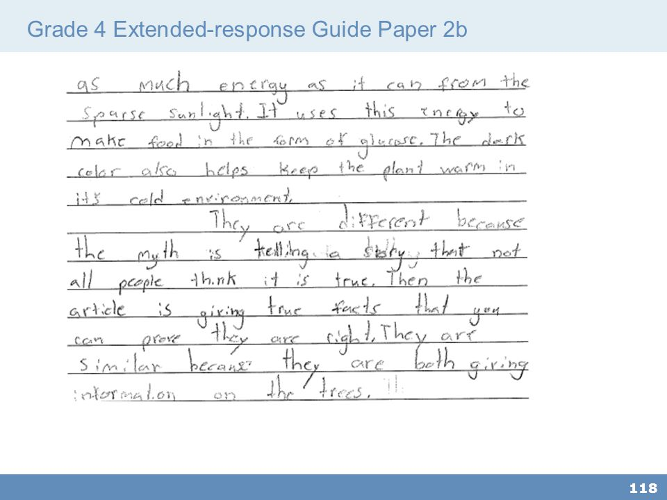 Grade 4 Extended-response Guide Paper 2b