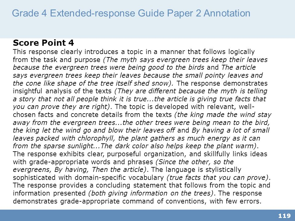Grade 4 Extended-response Guide Paper 2 Annotation