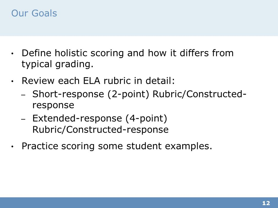Define holistic scoring and how it differs from typical grading.