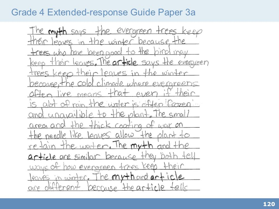 Grade 4 Extended-response Guide Paper 3a