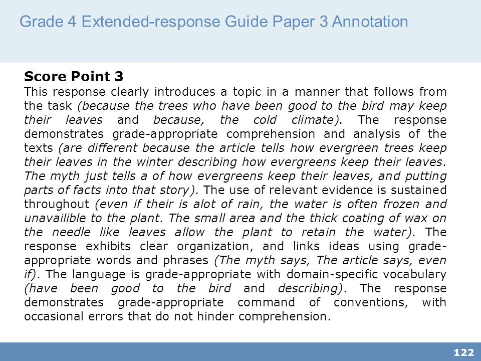 Grade 4 Extended-response Guide Paper 3 Annotation
