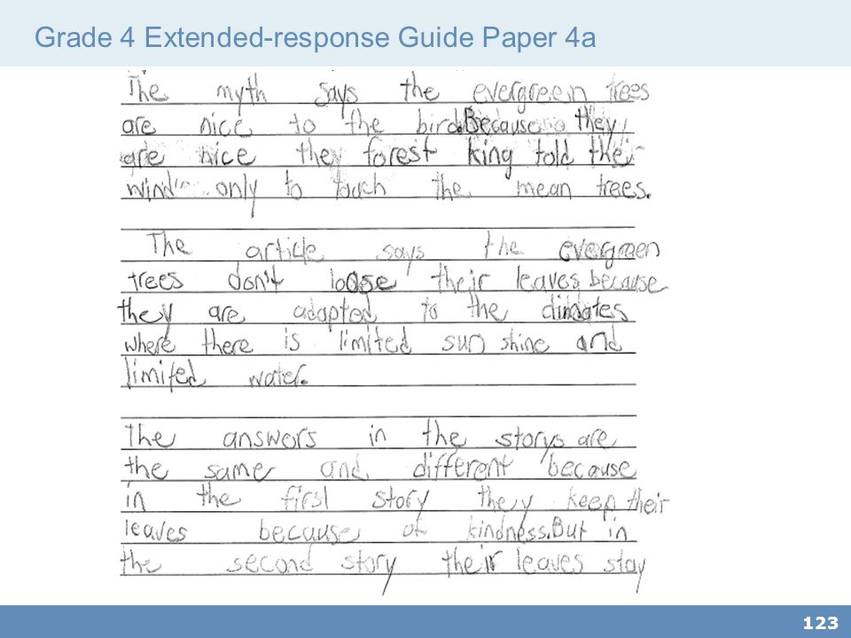 Grade 4 Extended-response Guide Paper 4a