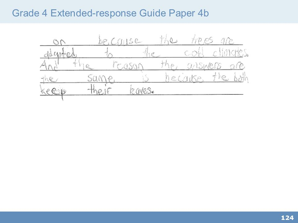 Grade 4 Extended-response Guide Paper 4b