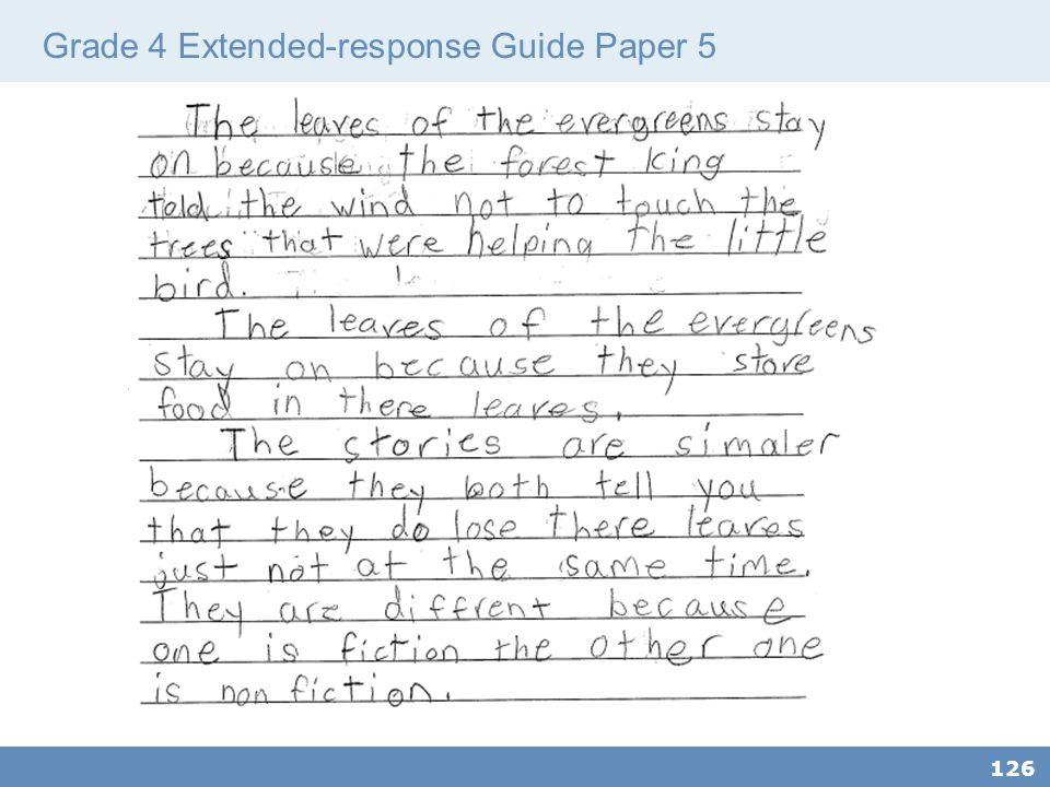 Grade 4 Extended-response Guide Paper 5