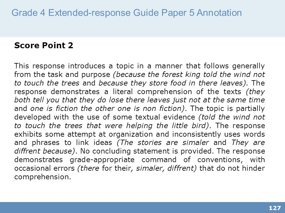 Grade 4 Extended-response Guide Paper 5 Annotation