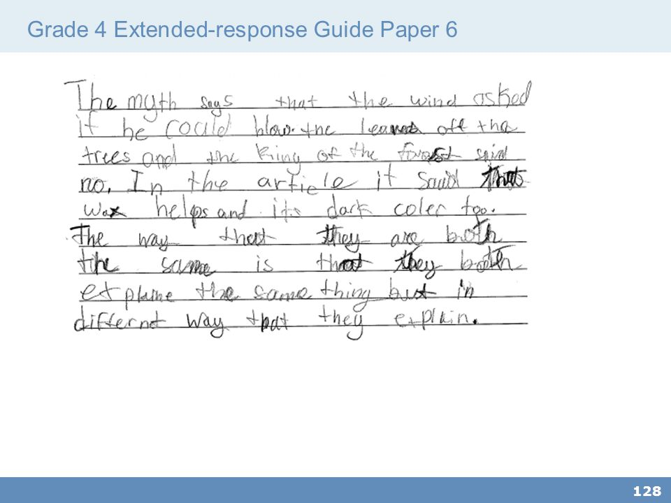 Grade 4 Extended-response Guide Paper 6
