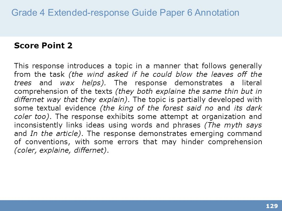 Grade 4 Extended-response Guide Paper 6 Annotation
