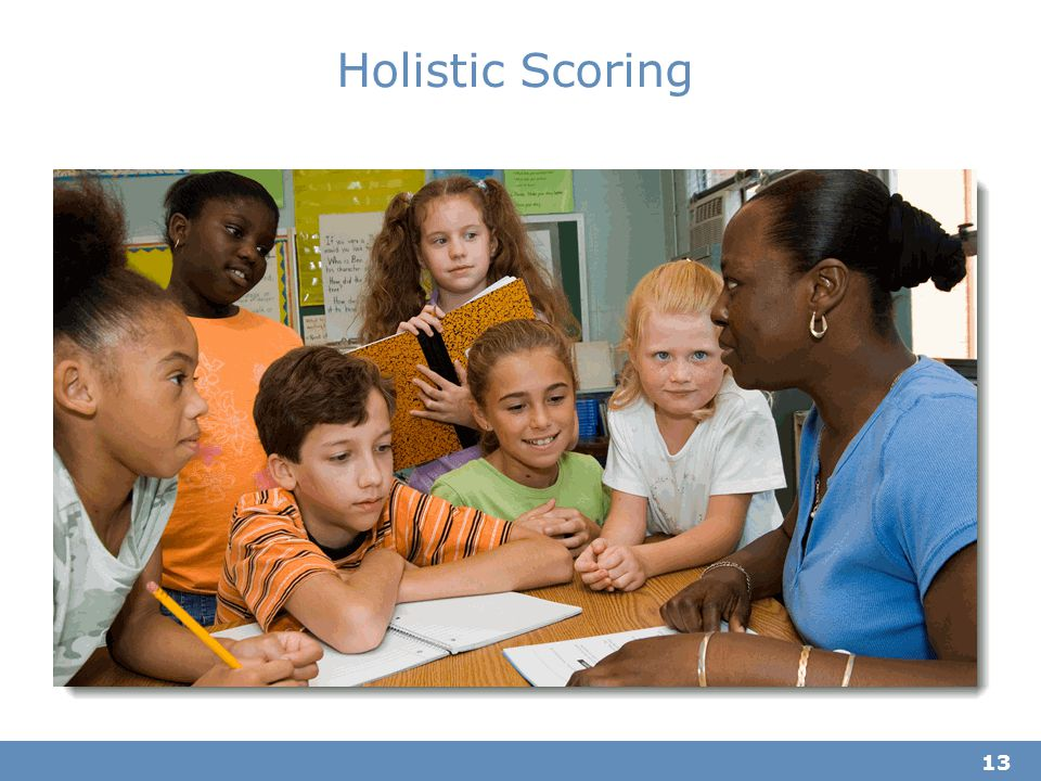 Holistic Scoring Time estimate: 5 minutes. This section of the training discusses holistic scoring vs. grading student responses.