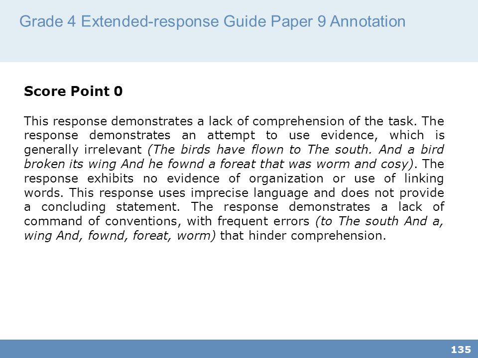 Grade 4 Extended-response Guide Paper 9 Annotation